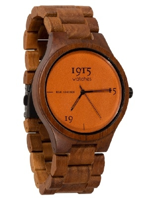 "1915 Houten horloge ""Real Leather"""